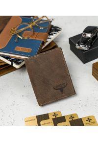 BUFFALO WILD - Skórzany portfel męski brązowy Buffalo Wild RM-03-HBW BROWN. Kolor: brązowy. Materiał: skóra