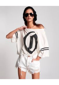 ONETEASPOON - Krótkie spodenki Truckers Mid Waist. Kolor: biały. Materiał: jeans. Długość: krótkie. Wzór: aplikacja