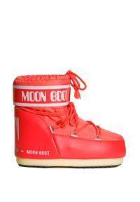 Buty zimowe Moon Boot na koturnie, z cholewką