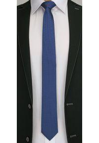 Oryginalny Krawat Męski w Drobny Rzucik - 6 cm - Angelo di Monti, Ciemny Niebieski. Kolor: niebieski