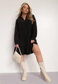 Renee - Czarna Sukienka Thellomene. Kolor: czarny. Długość rękawa: długi rękaw. Typ sukienki: koszulowe. Styl: elegancki. Długość: mini