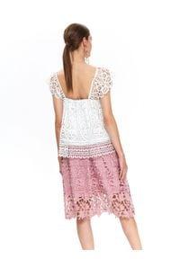 TOP SECRET - Koronkowa bluzka damska. Kolor: biały. Materiał: koronka. Wzór: ażurowy, koronka. Sezon: wiosna, lato. Styl: elegancki