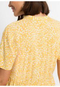 Sukienka bonprix żółty złocisty - biały w kwiaty. Kolor: żółty. Wzór: kwiaty