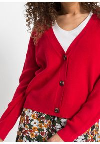 Sweter rozpinany bonprix głęboki czerwony. Kolor: czerwony