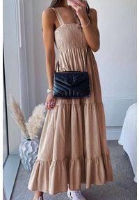 IVET - Sukienka MINORSA BEIGE. Okazja: na co dzień. Kolor: beżowy. Materiał: materiał. Typ sukienki: proste. Styl: casual. Długość: maxi