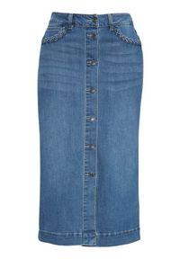 Freequent Rozciągliwa spódnica dżinsowa Rock denim blue female niebieski M (40). Kolor: niebieski. Materiał: denim. Styl: rockowy