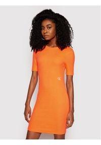 Calvin Klein Jeans Sukienka codzienna J20J215679 Pomarańczowy Slim Fit. Okazja: na co dzień. Kolor: pomarańczowy. Typ sukienki: proste. Styl: casual