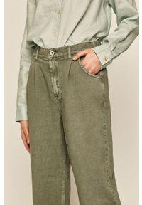 Zielone spodnie materiałowe medicine z podwyższonym stanem, boho