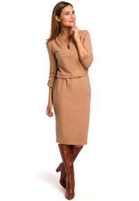 Style - Bawełniana sukienka o wyjątkowym kroju. Materiał: bawełna. Styl: klasyczny