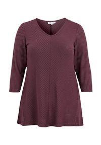 Czerwony sweter Zhenzi z długim rękawem, melanż, długi, z dekoltem w serek