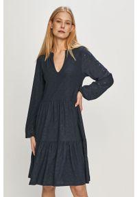Niebieska sukienka Vila rozkloszowana, mini, casualowa, z długim rękawem