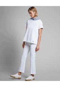 FAY - Białe spodnie z postrzępionymi nogawkami. Kolor: biały. Styl: klasyczny