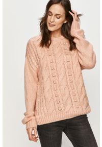Różowy sweter Answear Lab długi, wakacyjny, na co dzień
