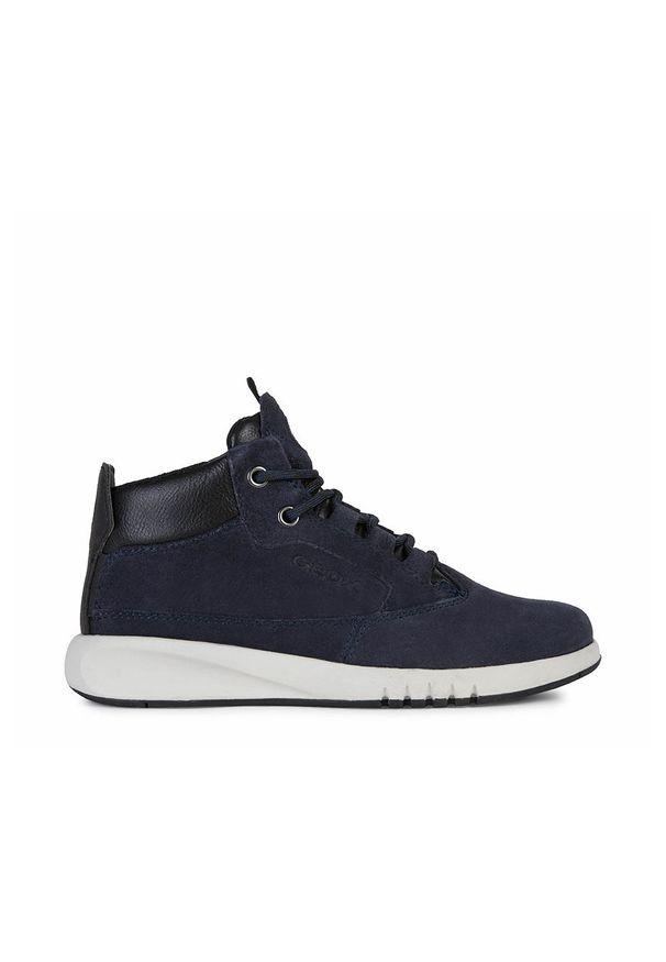 Niebieskie buty sportowe Geox z okrągłym noskiem, na sznurówki