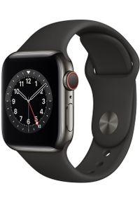 APPLE - Apple smartwatch Watch Series 6 Cellular, 40mm Graphite Stainless Steel Case with Black Sport Band. Rodzaj zegarka: smartwatch. Kolor: szary. Styl: sportowy