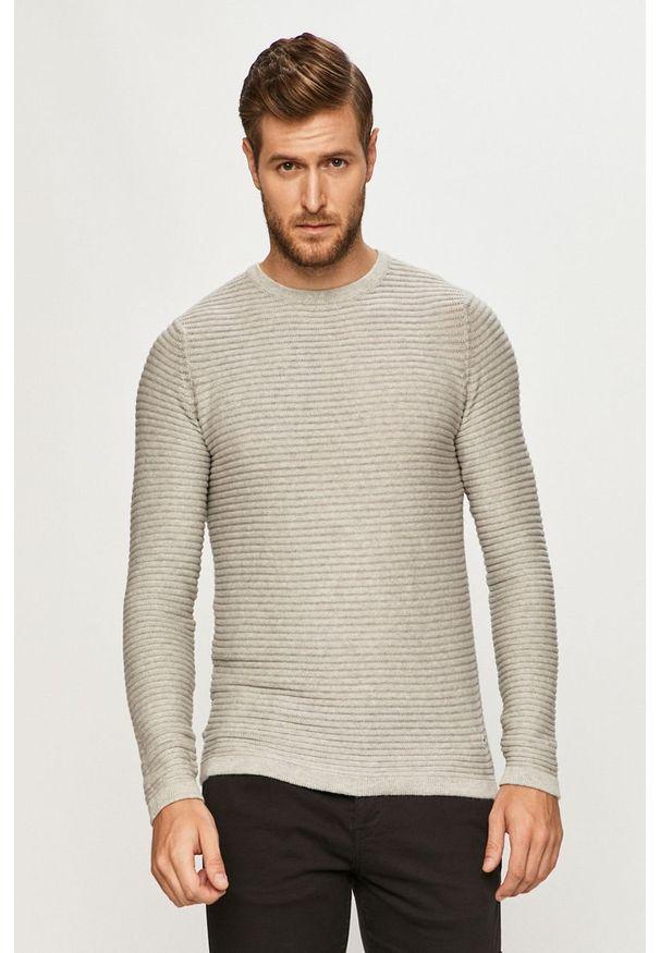 Szary sweter PRODUKT by Jack & Jones casualowy, długi, z okrągłym kołnierzem, z długim rękawem