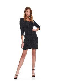 Czarna sukienka TOP SECRET na zimę, do pracy, asymetryczna