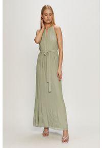 Vila - Sukienka. Okazja: na co dzień. Kolor: zielony. Materiał: tkanina, poliester. Wzór: gładki. Typ sukienki: proste. Styl: casual