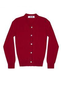 COMME DES GARCONS PLAY - Czerwony kardigan z kontrastowymi guzikami. Kolor: czerwony. Materiał: jeans, bawełna. Styl: elegancki, klasyczny