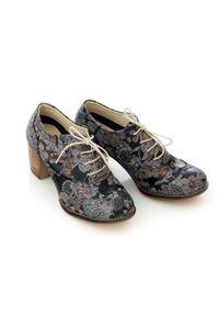 Zapato - sznurowane półbuty na 6 cm słupku - skóra naturalna - model 251 - kolor boho. Materiał: skóra. Obcas: na słupku. Styl: boho
