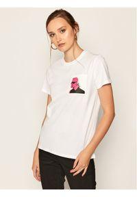 Biały t-shirt Karl Lagerfeld z nadrukiem, z dekoltem karo