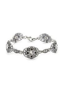 Srebrna bransoletka z aplikacjami, srebrna, z kryształem