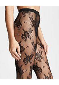 Wolford - WOLFORD - Rajstopy Lea Black/Black. Kolor: czarny. Materiał: tiul, koronka. Wzór: kwiaty, koronka