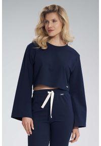 Figl - Krótka Bawełniana Bluza z Szerokim Rozciętym Rękawem - Granatowa. Kolor: niebieski. Materiał: bawełna. Długość: krótkie