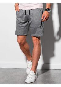 Ombre Clothing - Krótkie spodenki męskie dresowe W296 - czarny melanż - XXL. Kolor: szary. Materiał: dresówka. Długość: krótkie. Wzór: melanż. Styl: sportowy