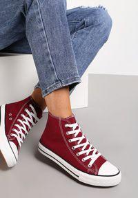 Renee - Bordowe Trampki Echimene. Wysokość cholewki: za kostkę. Nosek buta: okrągły. Kolor: czerwony. Materiał: materiał, guma. Szerokość cholewki: normalna. Wzór: gładki. Styl: klasyczny