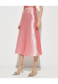 MACH&MACH - Różowa spódnica midi. Stan: podwyższony. Kolor: różowy, fioletowy, wielokolorowy. Materiał: jedwab, tkanina. Styl: elegancki