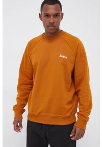 Dickies - Bluza bawełniana. Kolor: brązowy. Materiał: bawełna. Długość rękawa: raglanowy rękaw. Wzór: nadruk