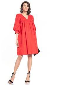 Tessita - Midi Sukienka z Bufiastym Rękawem - Czerwona. Kolor: czerwony. Materiał: bawełna. Długość: midi
