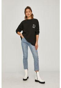 Czarna bluza Answear Lab wakacyjna, z nadrukiem, bez kaptura