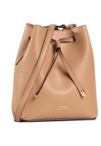 Brązowa torebka worek Lauren Ralph Lauren z aplikacjami, zdobiona