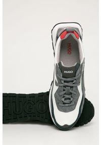 Szare sneakersy Hugo z okrągłym noskiem, z cholewką, na sznurówki