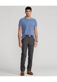 Ralph Lauren - RALPH LAUREN - Niebieska koszulka polo Luxe Knit Custom Fit. Typ kołnierza: polo. Kolor: niebieski. Materiał: bawełna, dzianina, prążkowany. Długość: długie. Wzór: haft, ze splotem