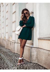 e-margeritka - Sukienka rozkloszowana mini z gumką w pasie zielona - 38. Kolor: zielony. Materiał: tkanina, poliester, materiał. Długość: mini