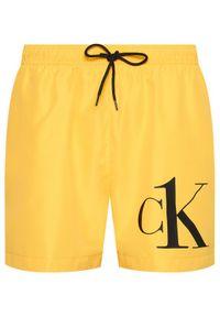 Calvin Klein Swimwear Szorty kąpielowe Drawstring KM0KM00590 Żółty Regular Fit. Kolor: żółty #2