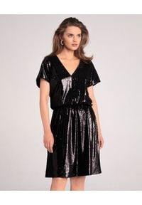 LA MANIA - Czarna sukienka z cekinów Boluo. Okazja: na randkę. Kolor: czarny. Styl: elegancki