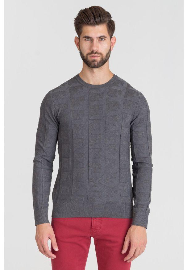 Szary sweter Emporio Armani z aplikacjami, z okrągłym kołnierzem