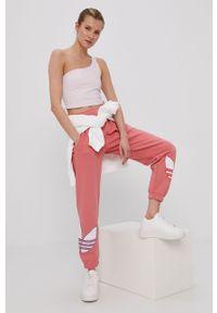 Różowy top adidas Originals gładki, sportowy