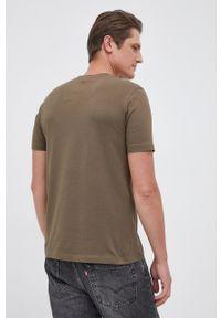 Aeronautica Militare - T-shirt. Okazja: na co dzień. Kolor: zielony. Materiał: dzianina. Wzór: gładki, aplikacja. Styl: casual