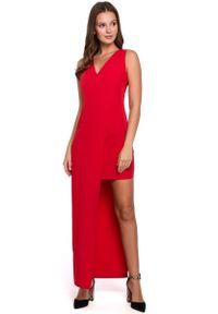 MAKEOVER - Czerwona Asymetryczna Długa Sukienka Wieczorowa. Kolor: czerwony. Materiał: poliester, elastan. Typ sukienki: asymetryczne. Styl: wizytowy. Długość: maxi