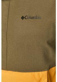 Oliwkowa kurtka columbia casualowa, bez kaptura, gładkie