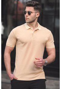 Beżowy t-shirt IVET polo, na co dzień, casualowy
