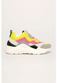 Różowe buty sportowe Steve Madden na sznurówki, na obcasie