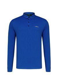 Niebieska koszulka polo Chervo długa, w kolorowe wzory, polo, z długim rękawem
