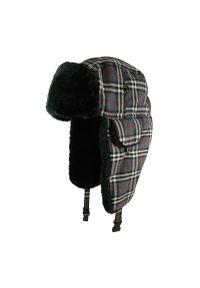 Szara czapka Aspen na zimę, w kratkę