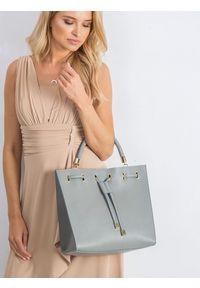 ROVICKY - Torebka damska shopper bag skórzana Rovicky szara TM-025 GRAY. Kolor: szary. Materiał: skórzane. Rozmiar: duże. Styl: klasyczny, elegancki, casual